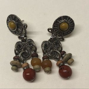 Vintage Robert Rose Silver Tone  Beads Earrings